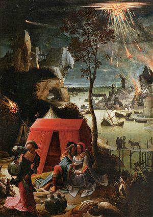 """Sodom and Gomorrah being destroyed in the background of Lucas van Leyden's 1520 painting """"Lot and his Daughters"""""""